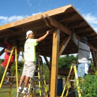 Pearlridge Rotarians provide manpower at the Urban Garden Center in Pearl City (