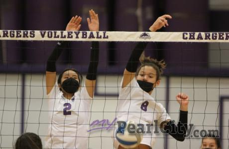 Pearl City Lady Chargers win tough match 3-1 over the Waialua Lady Bulldogs in O