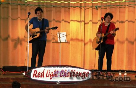 "Red Light Challenge Band makes a ""Stop"" and ""Go"" at Lehua Elementary School."