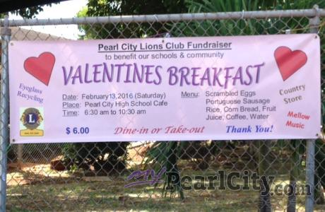 Pearl City Lions Club Valentines Breakfast Fundraiser, this Saturday at PCHS