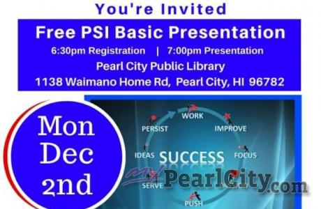 Free PSI Presentation, Monday, Dec. 2 at Pearl City Public Library