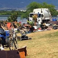 City work crews clear-out homeless encampments along Pearl Harbor Bike Path in P